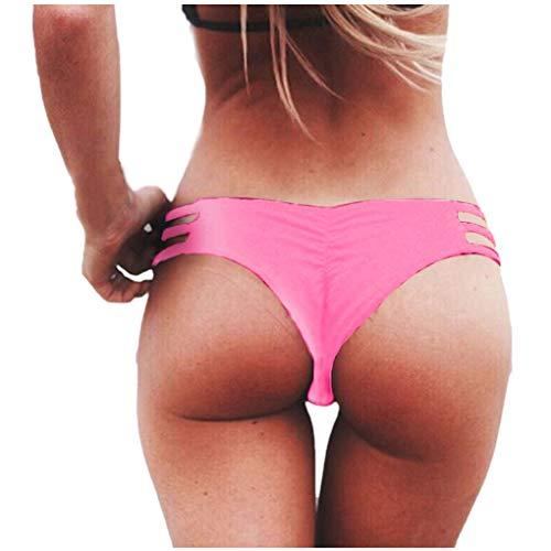 Dorical Damen Bikinihose Bikinislip Panty Bikini-Hose Seitlich Hohl/Frauen Badehose Tanga String Rüschen Brazilian Sexy Bikini Slip Schnüren Höschen Unterwäsche Schwimmhose(Rosa,Large) -