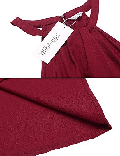 Meaneor Damen Kleid Neckholder Ärmellose Sommerkleid ohne Elastizität Ballkleid Party Cocktail Club Strandkleid Abendkleid Weinrot