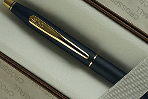 Cross Made in the USA Classic Century Lamina Matte Blue and 23KT Gold Appointments BallPoint Pen . Made in Lincoln RI , USA by