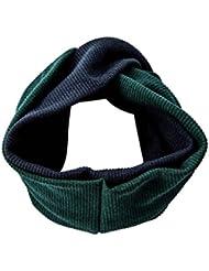 Banda de pelo de otoño/invierno exclusivo extra grande punto sólido vintage oscuro verde oscuro sombrero azul moda