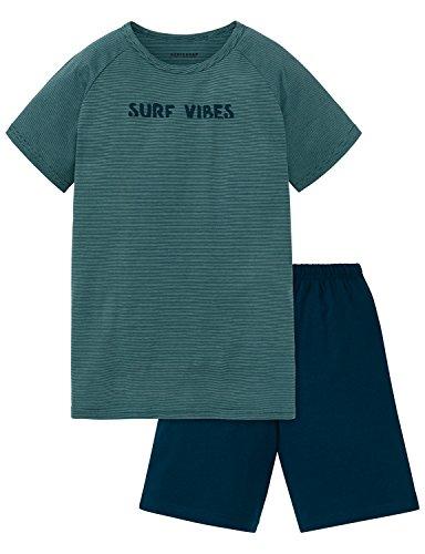 Schiesser Jungen Zweiteiliger Schlafanzug Anzug Kurz, Blau (Blaugrün 817), 140 (Herstellergröße XS)
