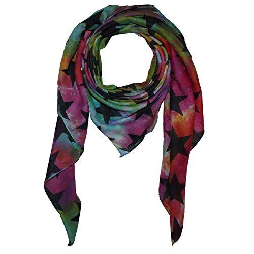 Superfreak® Baumwolltuch mit Sterne Muster - Tuch - Schal - 100x100 cm - 100% Baumwolle - Farbe: tie dye bunt-schwarz