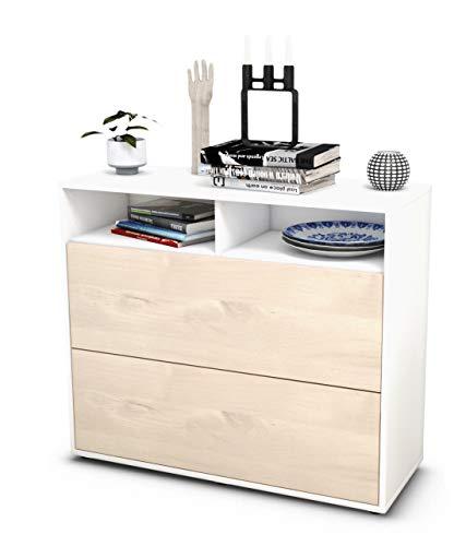Stil.Zeit Sideboard Cosma/Korpus Weiss matt/Front Holz-Design Zeder (92x79x35cm) Push-to-Open Technik