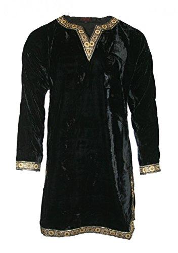 Dark Dreams Gothic Mittelalter LARP Samt Tunika Hemd Waffenrock schwarz rot Wotan , Farbe:schwarz, Größe:M (Schwarze Samt Tunika Für Erwachsene Kostüm)