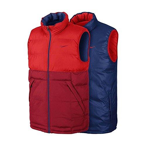 Nike Mens Draft-Flipit Reversible Down Vest Orange-Red/Blue 614690-600 Size X-Large (Reversible Down Coat)