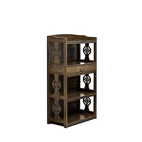 Bücherregal Feifei antike Bambuskunst schnitzte 3 Schichten mit den Schubladen, die Speicher-Kabinett-Speicher-Regal lagern (größe : 42 * 29 * 98CM) -