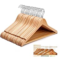 Smile-Packaging WOODEN COAT HANGERS SUIT GARMENTS CLOTHES WOOD HANGER TROUSER BAR SET 20 TO 100 HANGERS