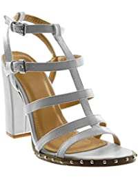 Angkorly Scarpe Moda Sandali Scarpe Decollete con Cinturino alla Caviglia  Gladiatore Donna Multi-Briglia Borchiati Tacco a… 8c4d09ea4dd