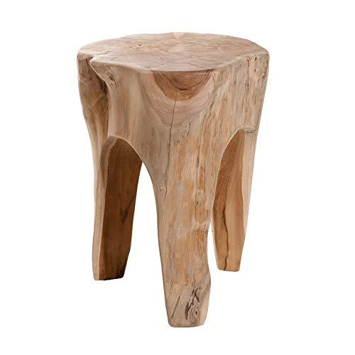 Meubletmoi Taburete Tronco/Fin de sofá Redondo en Madera de Teca Natural–Style Cosy Bohème Chalet Chic–Wood