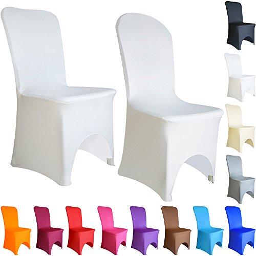TtS 1 10 20 50 100 Couverture Housse Chaise fibre banquet élastique artificiel mariage Anniversaire Fête arqué avant couleurs 12 COLOURS Availabled (Blanc,1 PACK)