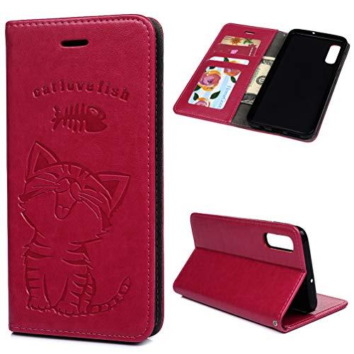 Edauto A50 Hülle Katze Case für Samsung Galaxy A50 HandyHülle Leder Flipcase Schutzhülle Brieftasche Flipcover Tasche Ständer Magnetverschluss Kartenfach Handytasche Rose rot