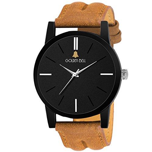 Golden Bell Original Black Dial Brown Strap Analog Wrist Watch For Men – Gb852 image - Kerala Online Shopping