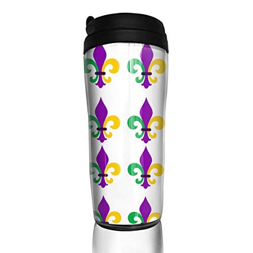 Rwwrewre Unisex Food Grade ABS Travel Mugs Mardi Gras Fleur De Lis by Coffee Thermal Tumbler Cups Fleur Thermal