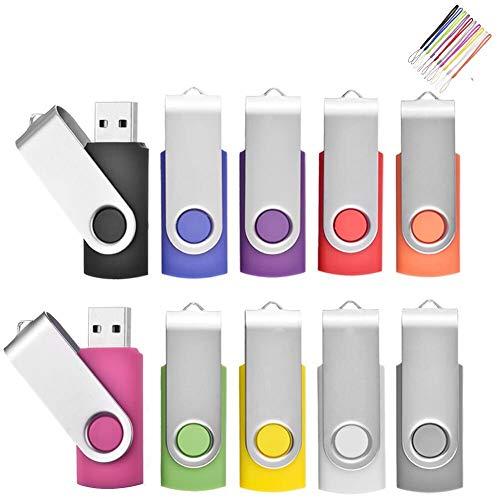 Cle USB 4Go Lot Clé USB 2.0 Cles USB Originale Clef USB Stockage Carte Flash Drive Stylo Lecteur avec Cordes (10 Couleurs) (4GB*10PCS)