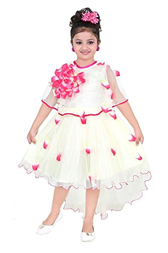 YAYAVAR Girls Net Made Off White & Lime Red Colored Casual/Party Wear...
