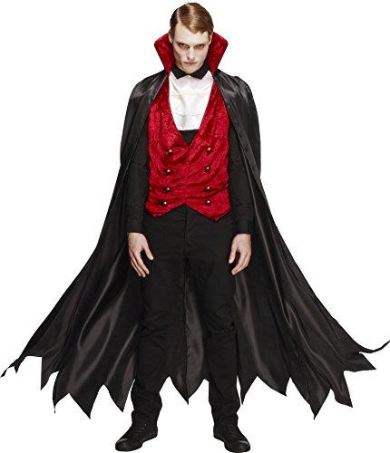 Fever, Herren Vampir Kostüm, Weste, Umhang und Krawatte, Größe: M, 29991