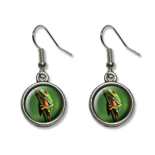–grün Neuheit Dangling baumeln Drop Charm-Ohrringe (Baum Frosch Kostüme)
