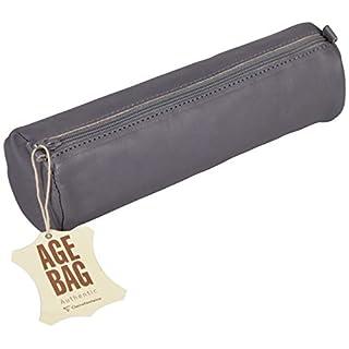 Clairefontaine 77033C - Une trousse ronde Age Bag en véritable cuir d'agneau 21 cm x  6 cm de diamètre, Gris