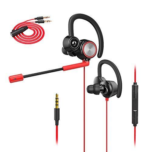 XIAOKOA Wired Gaming Kopfhörer mit Einstellbarem Mikrofon,Kopfhörer mit Mikrofon für Laptop-Computer Handy, E-Sport Earburds, Online-Freisprecheinrichtung