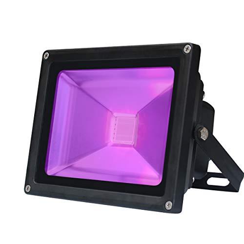UV Schwarzlicht,20W Violettes LED Stadiums Dekoratives Licht,Wechselstrom 85-265V IP65 Imprägniern UV-A Niveau 395-400nm Wellenlängen Flut-Licht für Party Leistung