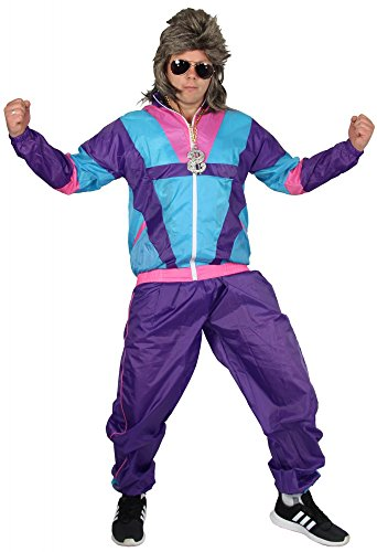 Foxxeo 40304 80s costume for men, trashy / nerdy tracksuit, size M-XXXL
