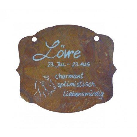 """Edelrostschild Sternzeichen """"Löwe"""" 13 x 11 cm - 23.Juli bis 23.August"""