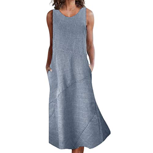 id Frauen Plus Größe Beiläufiges Leinen Loses ärmelloses Streifen Taschen Langes Partykleider Sommer O-Ansatz Baumwolle und Leinen Blusenkleid ()