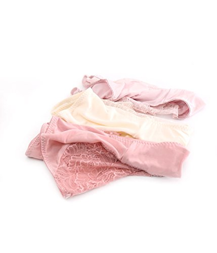 Sisann 3er Set 100% Maulbeereseide Slips Damen Panties Hipsters mit Spitzendetails Dunkelrosa+Dunkelbeige+Rosa