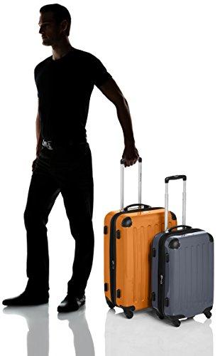 HAUPTSTADTKOFFER - Alex - 2er Koffer-Set Hartschale glänzend, TSA, 65 cm + 55 cm, 74 Liter + 42 Liter, Orange-Aubergine Orange-Silber