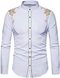 9c5d5c11e6517 Camisa De Manga Larga Bordada Hombre AIMEE7 Camisas Hombre Estampadas