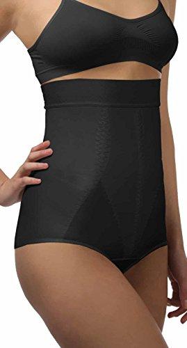 ®BeFit24 Miederhose: hohe Taille - mit Bauch-weg-Effekt und Anti-Rutsch-Silikonband für Damen.(Größe Large schwarz)