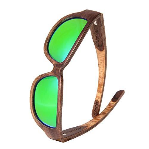 WOLA TYPHON Sport Sonnenbrille Holz Damen und Herren stylische Brille Walnuss grün verspiegelt
