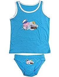 garçons sous-vêtement Peppa George Pig Gilet & CULOTTES caleçons Ensemble tailles de 2 à 8 ans