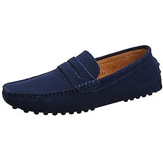 Jamron Herren Klassisch Ursprüngliches Wildleder Penny Halbschuhe Komfort Fahrende Schuhe Schlüpfen Niederung Mokassin Slippers Hausschuhe Marineblau 2088 EU43