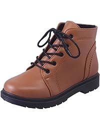 Zapatos botos con correa para mujer,Sonnena Zapatos de tacón grueso de estudiante de moda Casual Boots Zapatos de mujer Botas cortas gruesas