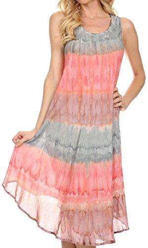 Sakkas 605 Wüstensonne Kaftan Kleid oder Vertuschung für Damen- Grau/Coral - One Size