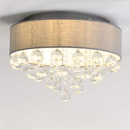 SPARKSOR Ø40cm Moderne Stoff Pendelleuchte Shade 6-Lights G9 Deckenleuchte Kristall Kronleuchter für Schlafzimmer Wohnzimmer