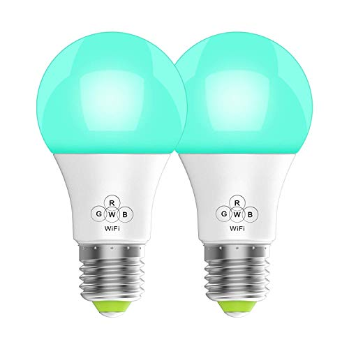 Smart WiFi Lampen E27 LED Smart Wlan Glühbirnen RGB+CW+WW Dimmbar Timing Fernbedienung via APP & Sprachsteuerung Kompatibel mit Amazon Alexa Google Home LED Smart Home Licht 9W 700LM 2er Pack,2PCS -