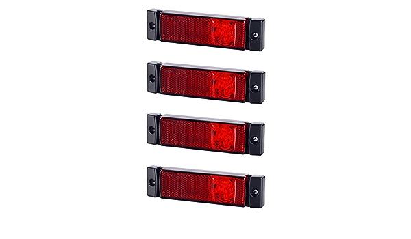 4 X 3 Smd Led Rot Begrenzungsleuchte Umrissleuchte Mit Reflektor 12v 24v E Prüfzeichen Positionsleuchte Auto Lkw Pkw Lampe Leuchte Licht Universal Auto