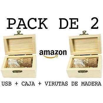 PACK de 2 USB (16 GB) Para Fotógrafos Botella de cristal con corcho + Caja + Virutas de Madera Memoria USB para bodas USB para fotógrafos USB Original ...