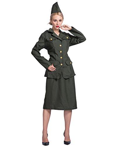 EraSpooky Damen Weltkrieg Armee Soldat (Mädchen Soldat Kostüme)