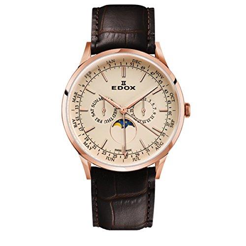 EDOX Reloj Analogico para Hombre de Cuarzo con Correa en Cuero 40101-37RC-BEIR