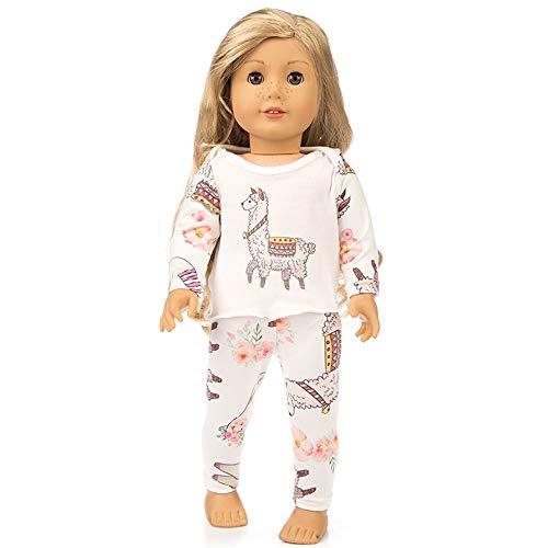Traje de Pijama Top Estampado de Manga Larga + pantalón a Imprimiendo para 18 Pulgadas Muñeca Americana Chica Gusspower