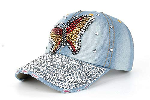 KCJMM-HAT Baumwolle Baseball Cap, Basecap Unisex Baseball Kappen, Bunte Schmetterlinge, voller Diamanten, Baseballmützen, Sonnenhüte im Freien, A