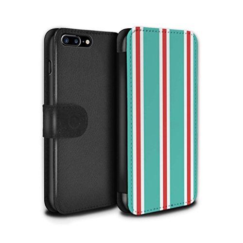 Stuff4 Coque/Etui/Housse Cuir PU Case/Cover pour Apple iPhone 8 Plus / Sarcelle/Rouge Bande Design / Mode Bord Mer Collection Sarcelle/Rouge Bande