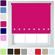 """Furnished Persiana enrollable, diseño con ojales cuadrados, diferentes colores y tamaños, recortable, fucsia, 90cm x 165cm (35.4"""" x 65"""")"""