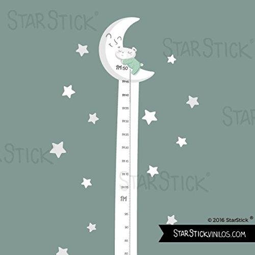 StarStick - Medidor Osito en la luna blanca - Vinilos infantiles - Verde menta