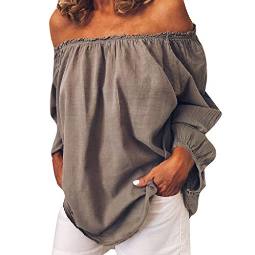 Pullover Sweatshirt für Damen,Kobay 2019 Halloween Heiligabend Weihnachten Plus Size Frauen Solide Casual Leinen Schulterfrei Bluse Shirt Blusen T Shirt Tops Sweater Sleeve Scoop Neck Bow