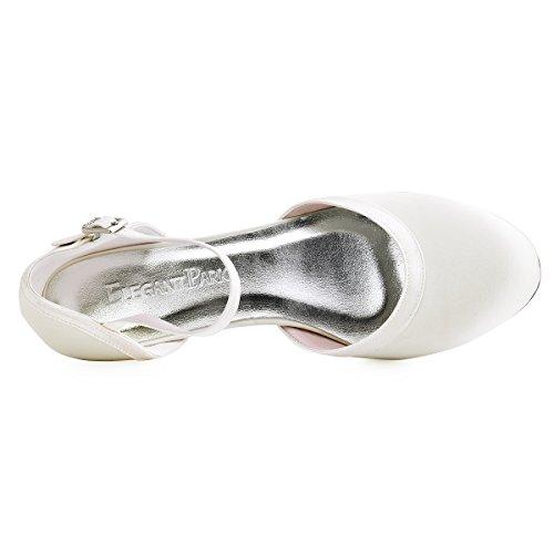 ElegantPark Donna Punta Chiusa Tacco Grosso Cinturino Alla Caviglia Pompe Satin Scarpe Da Sposa Da Sera Avorio