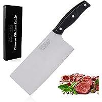 GOURMEO couteau de cuisine chinois en acier inoxydable | avec 2 ans de garantie satisfaction | couteau-hachoir, coupe-morceaux, couteau de chef, couteau de cuisine professionnel